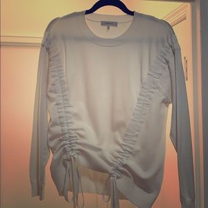 Milly Cinched Bottom White Sweater